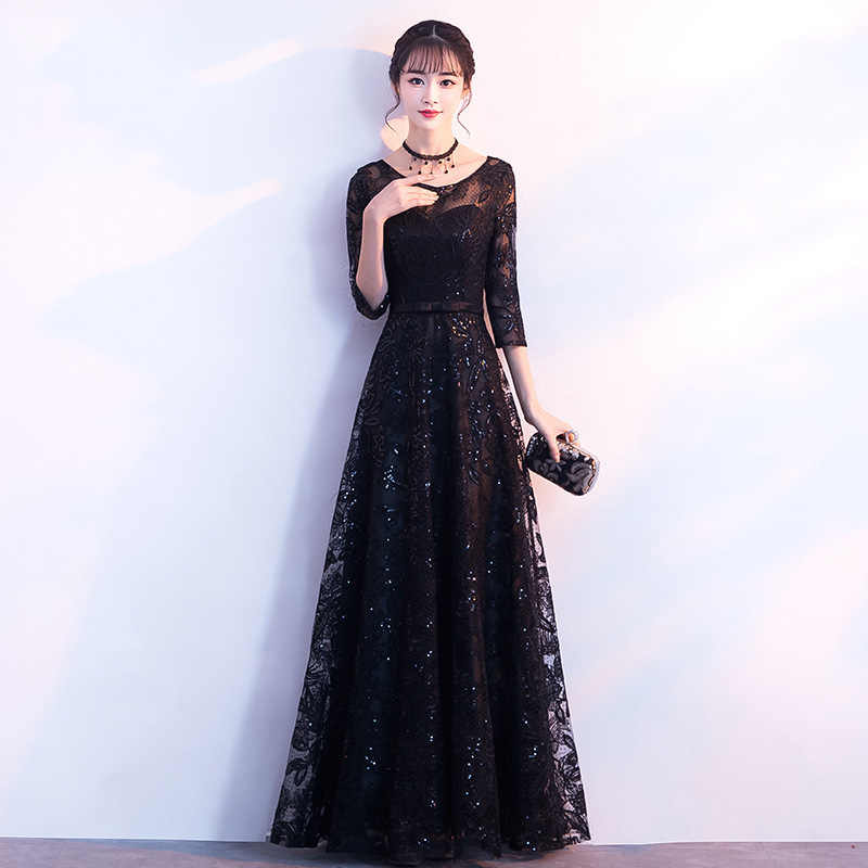 2019 new Stylish Lace sexy Slim Sparkly party dress dress   evening dress female Chinese Style Dress Improved Qipao Size S-XXL