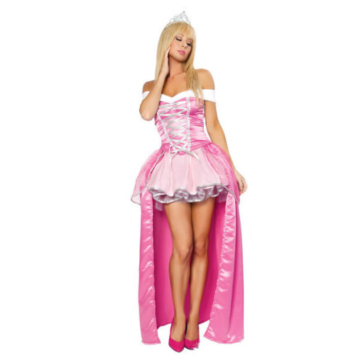Halloween Sexy Princess Aurora Women Adult Cosplay Costume Pink Dress Prom Gown full set