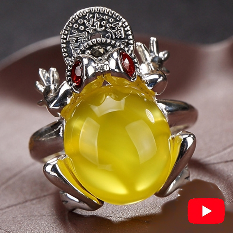 Money Wealth Israel Amber S925 silver Ring Sterling Good luck Fengshui fortune toad frog Gemstone Chinatown Chinese Gift