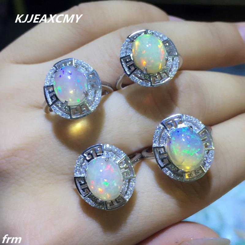 KJJEAXCMY joyería fina plata de ley 925 incrustación ópalo natural anillo femenino al por mayor-in Anillos from Joyería y accesorios    1