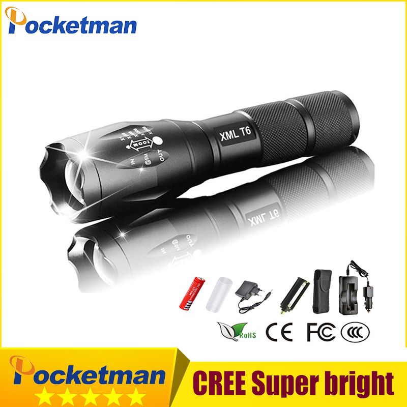 XML-T6 3000lm Adjustable Led Flashlight Led Torch Car Charger+Battery Charger+1*18650 Rechargeable Battery + Holster pouch zk93 crazyfire led flashlight 3t6 3800lm cree xml t6 hunting torch 5 mode 2 18650 4200mah rechargeable battery dual battery charger page 7