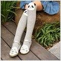 2016 Cinza de algodão panda dos desenhos animados Para manter as meninas quentes em linha reta meias crianças perna aquecedores de ouvido estéreo meias bebê para 2-13 ano