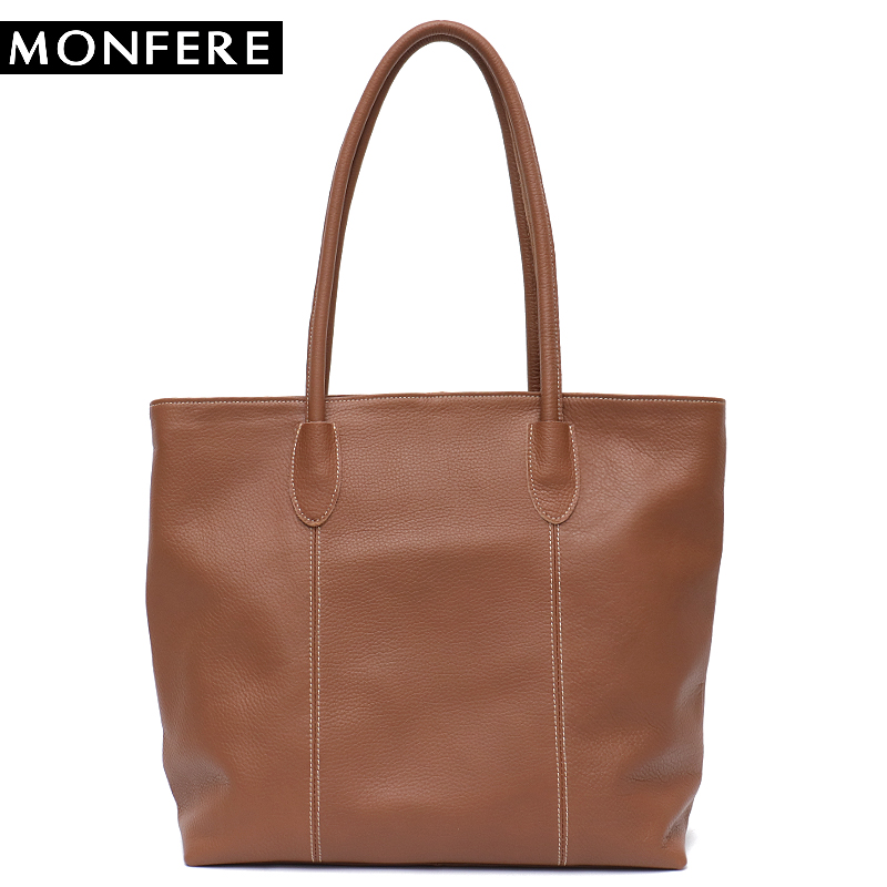 MONFERE Genuine Leather Handbags for Women Large Classic Tote Soft Cowhide Shoulder bags Ladies' Vintage leather Shopping bags