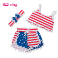 2017 Summer Style Baby Girl Outfits Sleeveless T Shirt + Shorts + Headband 3 Pcs  Independence Day Newborn Girls Vestidos  Yi