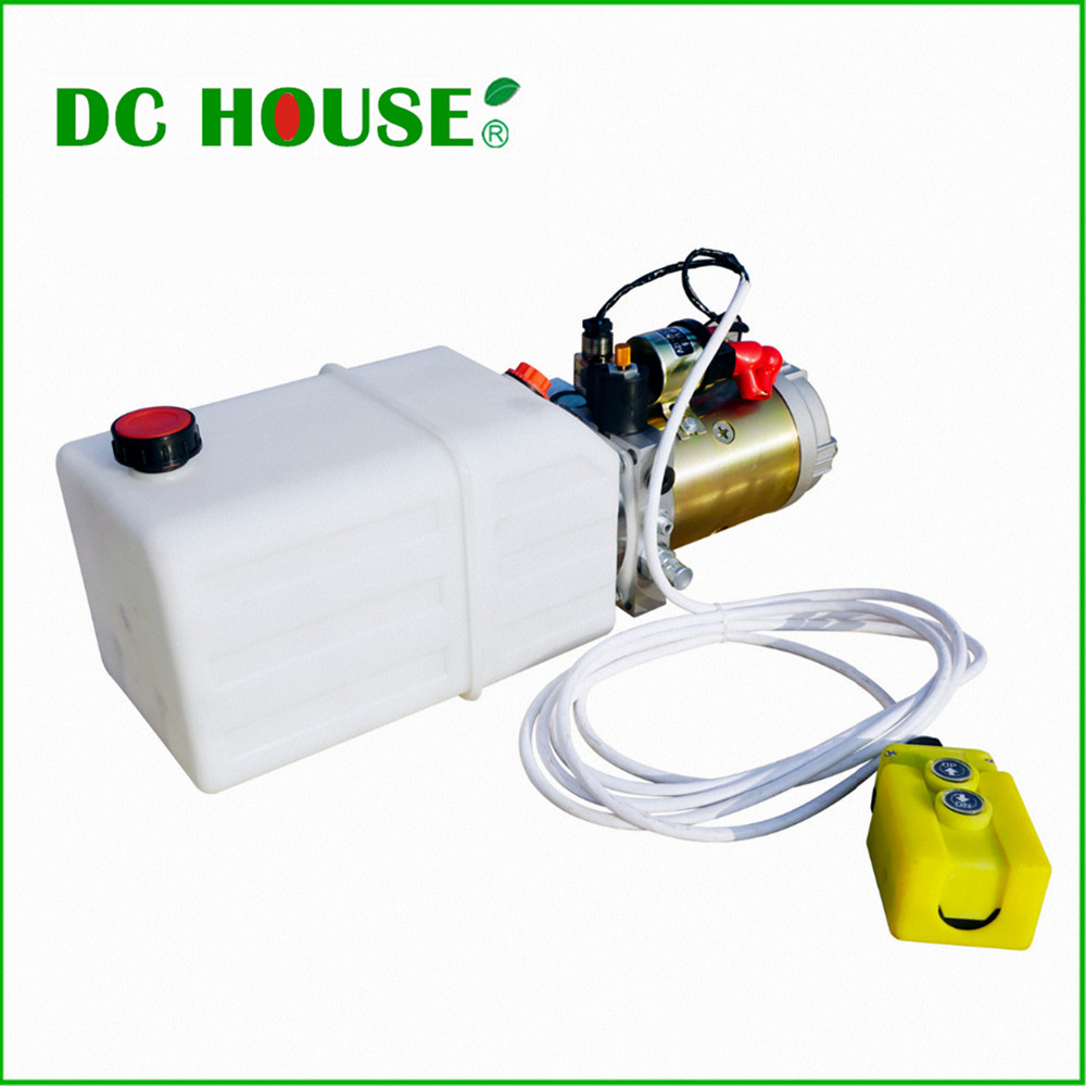 DC HOUSE High Quality Single Acting Hydraulic Pump 6L 12V Dump Trailer- 6 Quart 3200 PSI Max orient et0p002b
