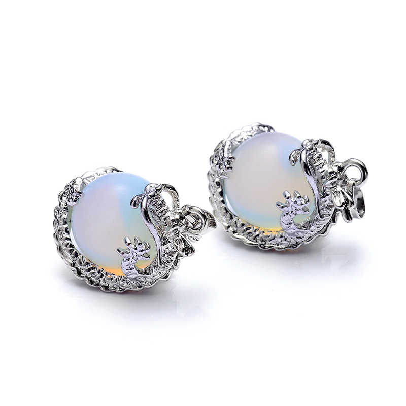 2pcs/lot new fashion round ball with dragon pendant white opal glass lampwork charm pendant for necklace DIY jewelry making