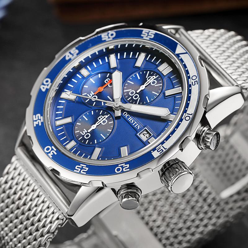Prix pour Sport Montre Hommes En Acier Maille Bande Hommes Montre Top Marque de luxe Chronographe À Quartz Montre Homme Horloge Militaire De Mode Montre-Bracelet hommes
