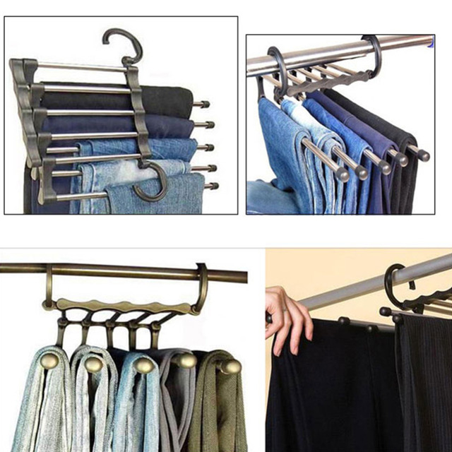 Genial 1Pc New Magic Stainless Steel Trousers Hanger Multifunction Pants Closet  Belt Holder Rack 5 Layers Saving