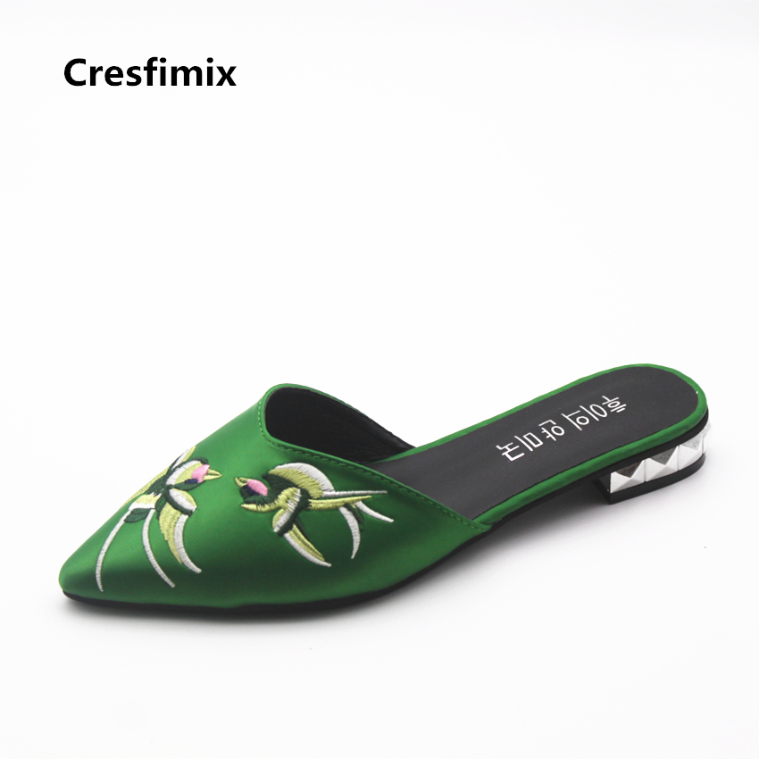 Cresfimix sandalias de mujer women fashion pu leather green sandals lady casual floral printed pointed toe sandals cool sandals cresfimix women fashion