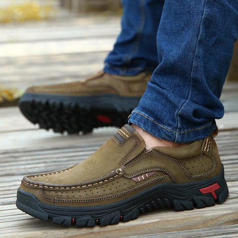 cow leather men brand running shoes genuine leather jogging training shoes breathable outdoor sport running sneakers male shoes Islamabad