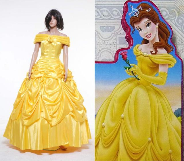 Beauty And The Beast Belle Evening Gown Yellow Dress Cosplay Costume WITH Petticoat