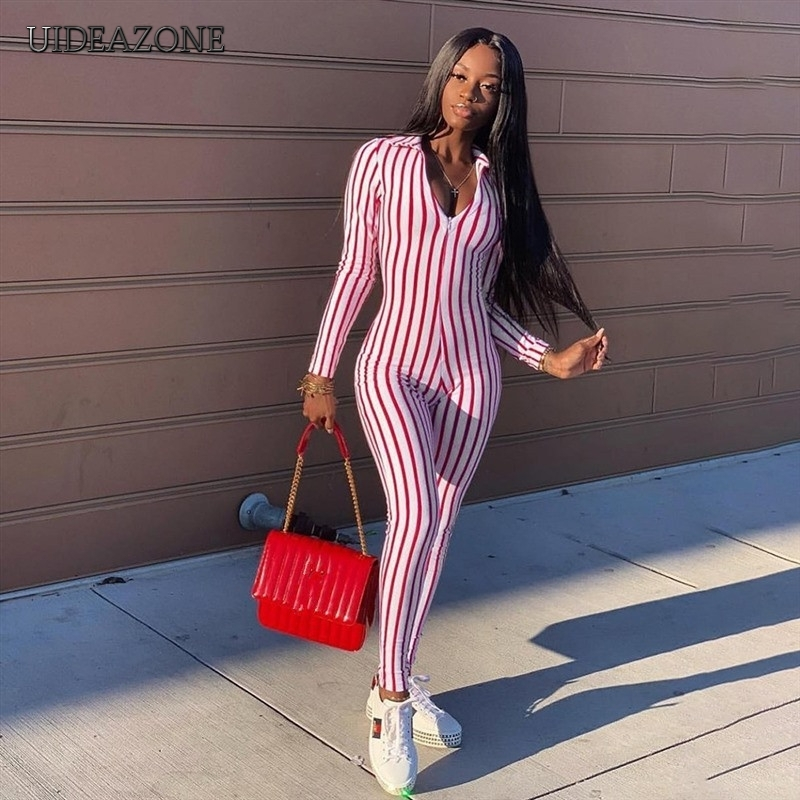 V-neck Striped Line Jumpsuits Women Skinny Full Length Pants Jumpsuit Contrast Color Sports Bodysuits Ladies Club Playsuits