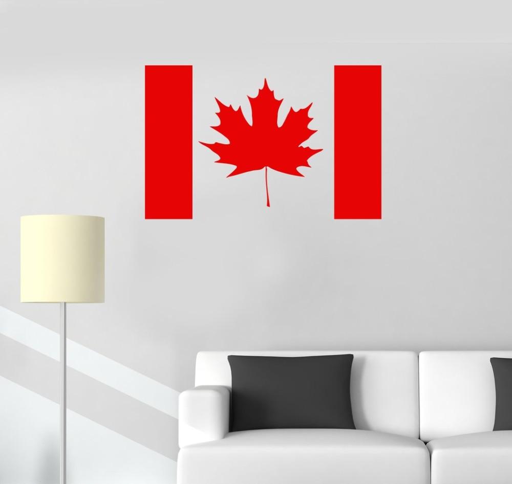 Canada Flag Vinyl Wall Stickers Maple Leaf Canadian Room