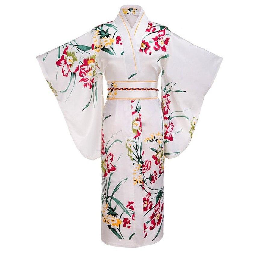 White Japanese Women Fashion Tradition Yukata Silk Rayon Kimono With Obi Flower Vintage Cosplay Costume  Evening Dress One Size