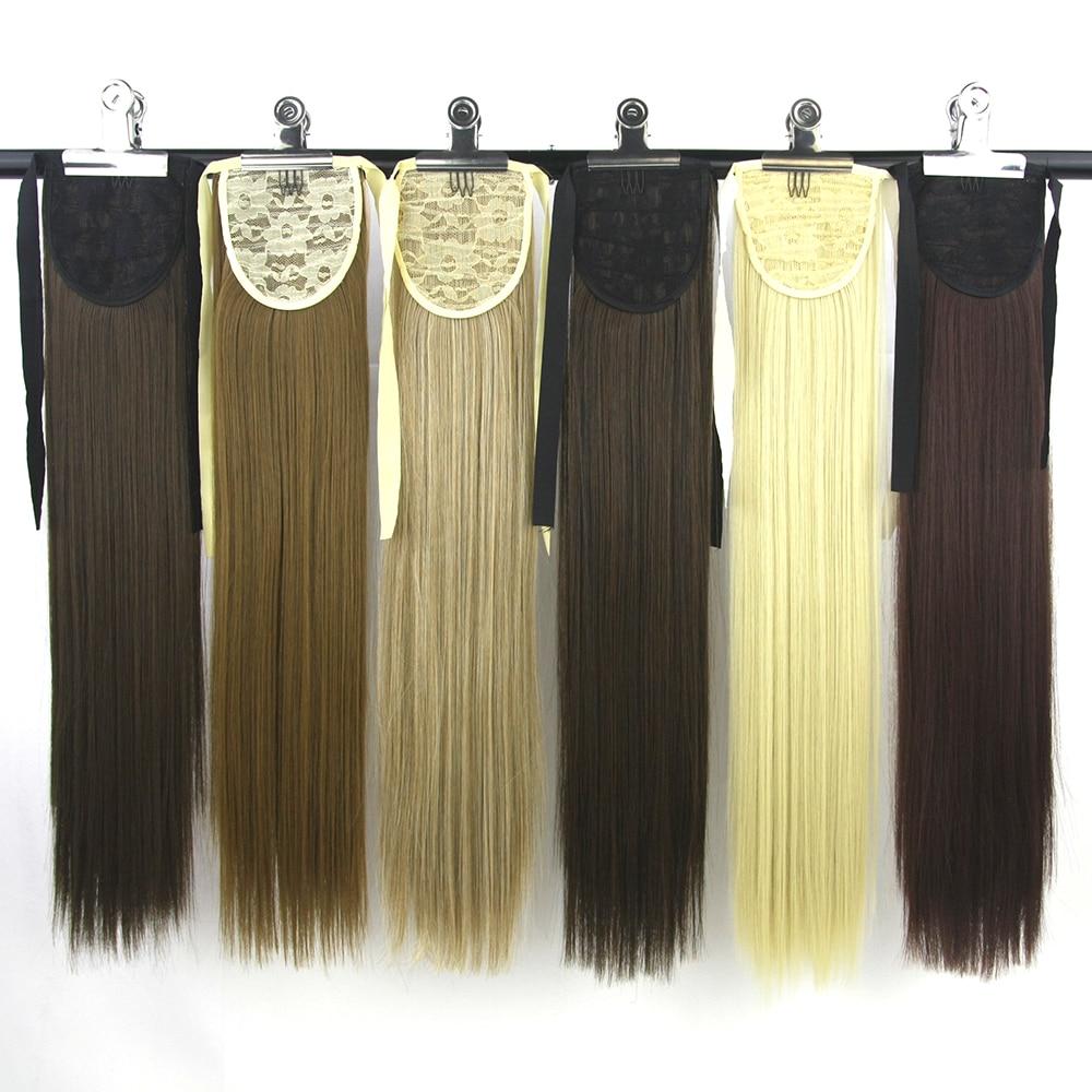 Soowee Kunsthochtemperaturfaser Fairy Tail Lange Gerade Haarteil Kordelzug Pferdeschwanz Haarverlängerungen für Frauen