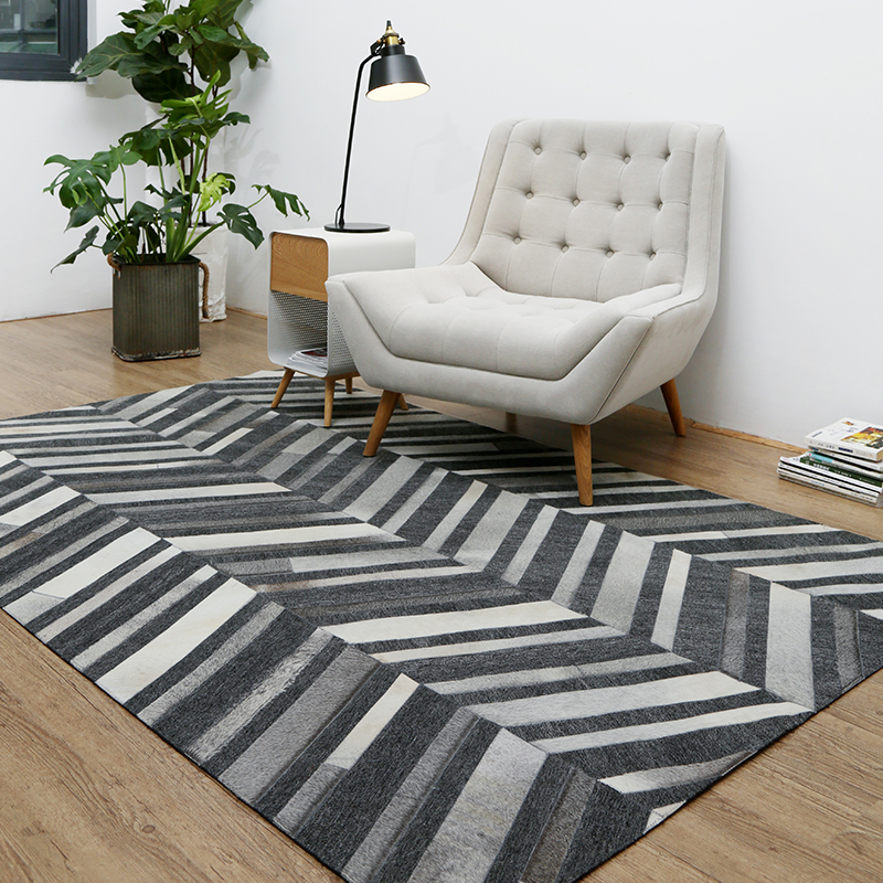 Gray Striped Rug Natural