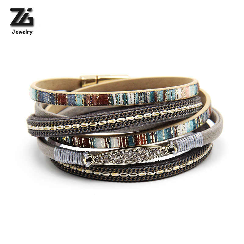 ZG  Fashion High Quality bracelets&bangles Women Leather Bracelet With Gold Color Rhinestone Bar long wrap Bracelet for women