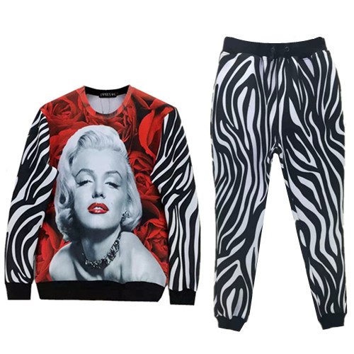 Marilyn Monroe Tracksuits 3D Roses Sweatshirt and Jogger Sets Striped Woman Sport Suit Unisex Outfit Jogging Suits Swag Clothes