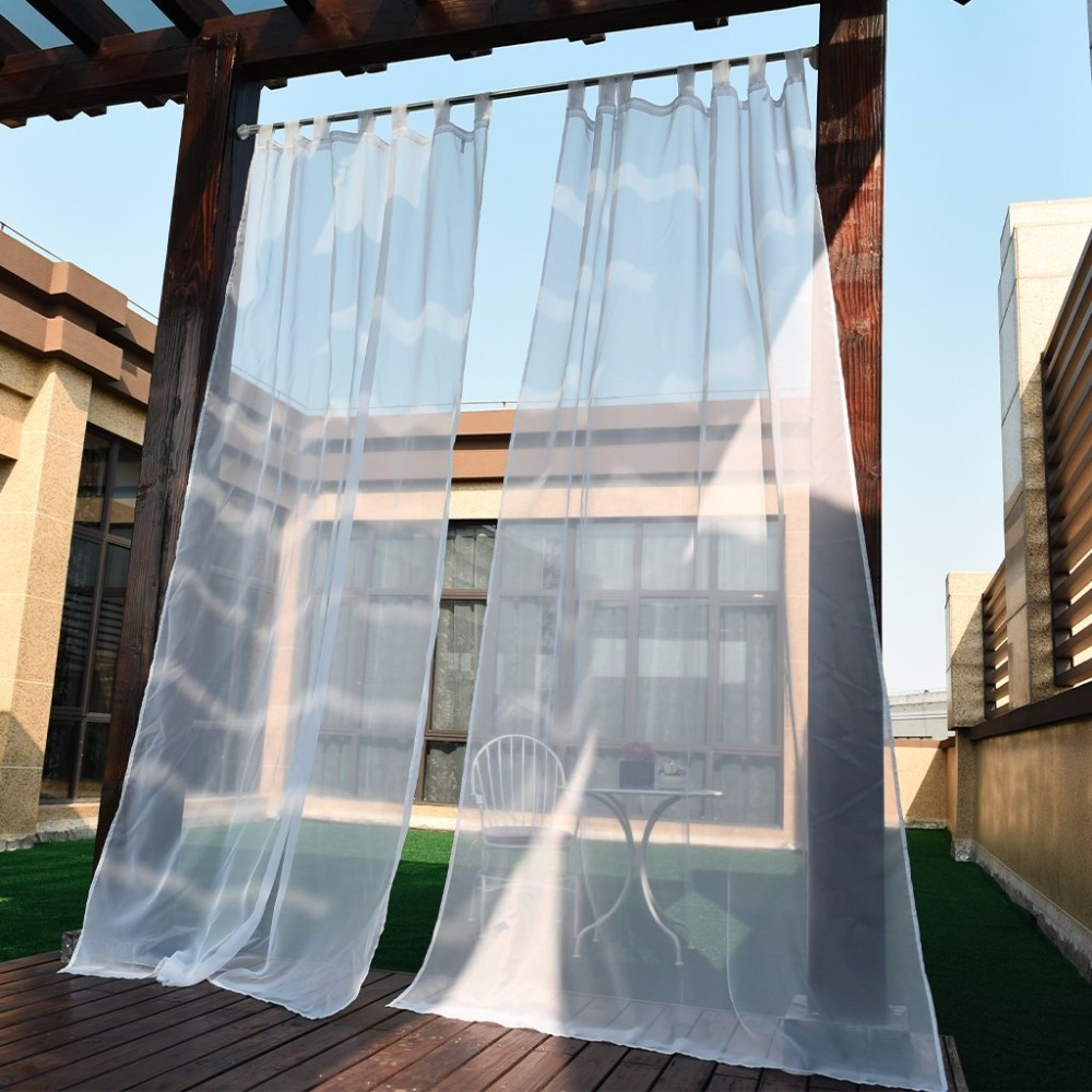 nicetown white indoor outdoor curtain panels elegant tab top waterproof curtains for indoors and outdoors with rope tieback