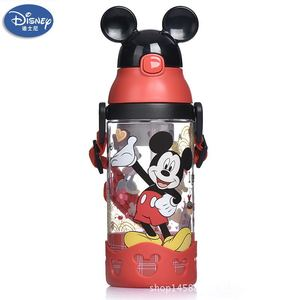 Image 3 - 500ml Disney princess mickey children water cup with straw Lanyard bottle primary school boy girl baby portable water kettle