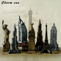 Metal 3D world famous architectural bronze ornaments of Eiffel Tower/ Statue of Liberty cafe barchristmas decorations for home