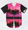 2 Colors Real USA Size Custom made Fashion 3D Sublimation Print Palm Tree Paradise Baseball Jersey Plus Size