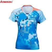 2019 Kawasaki Badminton Shirt Women Tennis shirts V Neck Breathable Blue Color Badminton Sport T shirt ST S2112