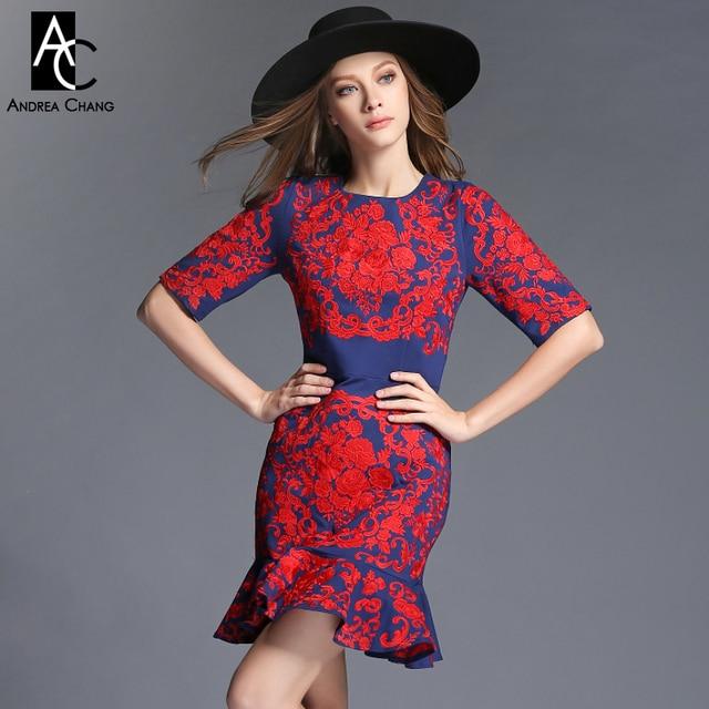 cd13a4dcc2 2015 jesień zima projektant sukienki damskie ciemny niebieski trąbka  syrenka czerwony kwiat hafty mody rocznika strój