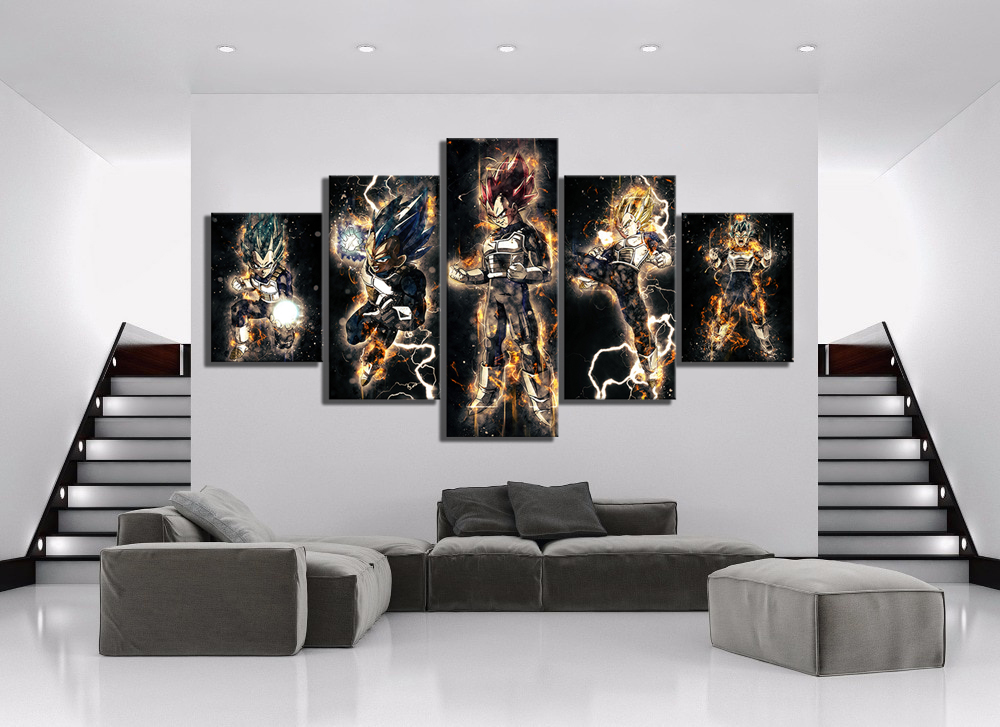 5 Piece Abstract Art HD Pictures Dragon Ball Vegeta Anime Poster Paintings Canvas Art for Home Decor Wall Art 5