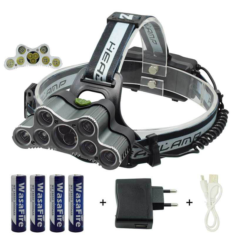 Camping Light 9 Led Headlamp 7*XML T6 + 2*XPE Q5 Head Lamp Led Headlight Head Torch With 18650 Battery+Charger For Night Fishing