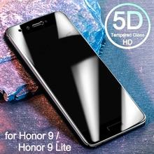 Vidrio Templado 5D para Huawei Honor 9 Lite Protector de pantalla 9 curvado completo en el vidrio Protector para Huawei Honor 9 Lite Glass