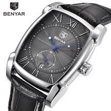 Benyar Square Marca Hombres de Negocios Reloj de Cuarzo Resistente Al Agua Reloj de Los Hombres Reloj de Pulsera de Cuero Genuino Masculino Del Relogio masculino hodinky
