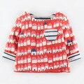 Moda primavera otoño chicos de impresión de Manga larga cabritos de la camiseta t shirt Print rojo ropa de los niños niños ropa de las muchachas camisetas