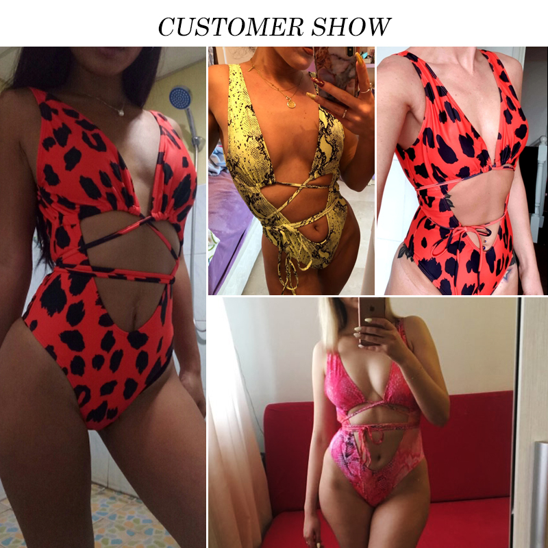 Red leopard Brazilian swimsuit one piece Plus size sexy bikini 2019 Push up swimwear women string monokini High cut bathing suit