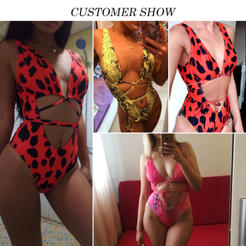 Red leopard Brazilian swimsuit one piece Plus size sexy bikini 2019 Push up swimwear women string monokini High cut bathing suit 1