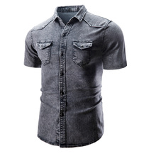 Summer Casual Men Shirt Short Sleeved Tops Turn Down Collar Denim Solid Fashion Male Clothes  3 Colors D40