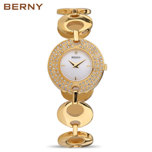 BERNY 2017 Ladies Watch the Best Fashion Gold Watches Women Famous Brand Discounted Quartz Clock Cheap Womens Watches 2484L