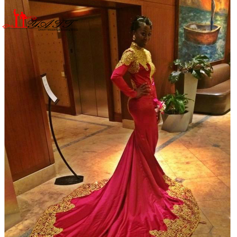 High Neck Arabic Dresses 2016 Evening Dresses Long Sleeves Mermaid Prom Dresses With Long Tail