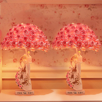 Fashion Bed Room Table Lamp Rose PE Lampshade Living Room Decoration Abajur Table lamp For Bedroom Lamparas De Mesa