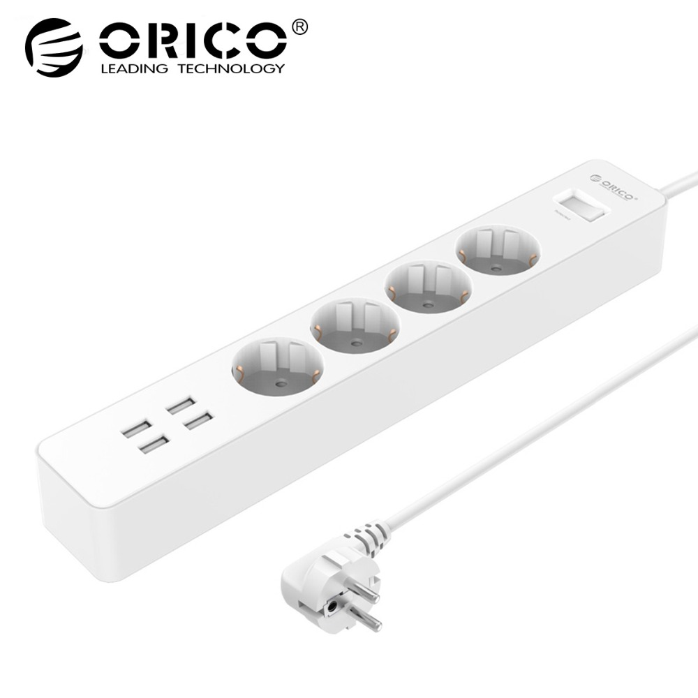 цена на ORICO Power Strip Electrical Socket Home Office EU/UK Surge Protector With 4 USB Charger 4 AC Plug Multi-Outlet