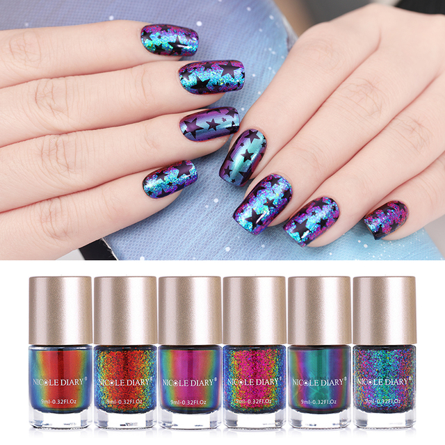 Nicole Diary 9ml Nail Polish Chameleon Holographic Thermal Iridescent Flakies Varnish Shinny Glitter Manicure Art
