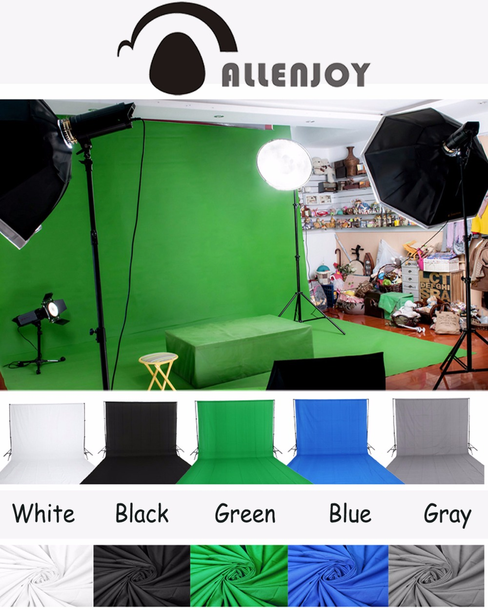Allenjoy Green screen background chroma key more color Options Customized Size Professional Photo Lighting Studio supon 6 color options screen chroma key 3 x 5m background backdrop cloth for studio photo lighting non woven fabrics backdrop