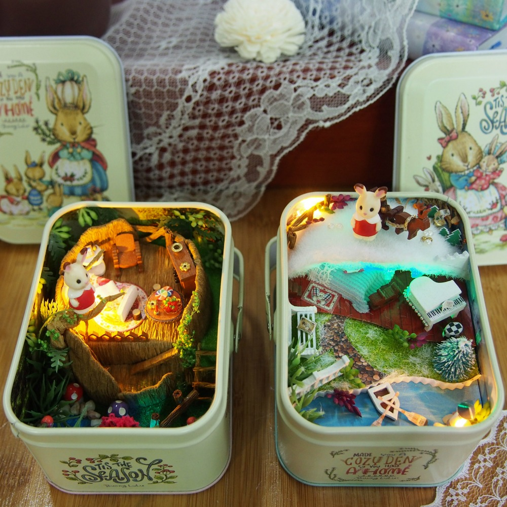 Iron Box 3D Wooden DIY Handmade Box Theatre Dollhouse Miniature Box Cute Mini Doll House Assemble Kits Gift Toys