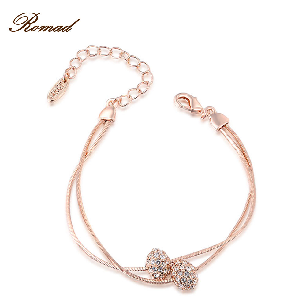 Ramad Brand Round Cubic Zirconia Rose font b Gold b font Color Two Beads font b