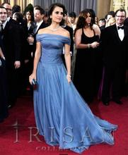 free shipping 2013 Oscars Awards Blue Off Shoulder Celebrity Prom Evening Long Dress