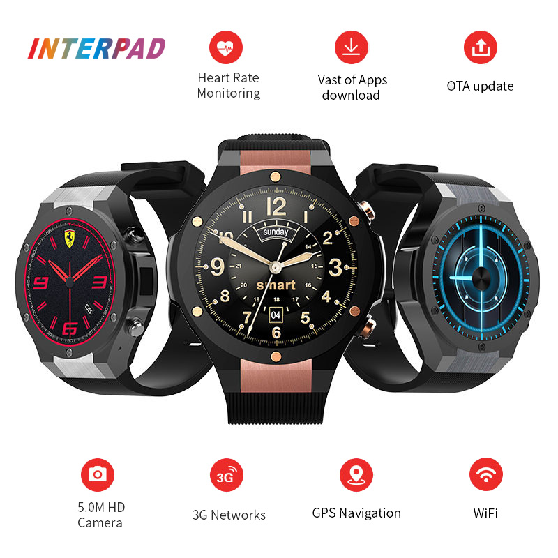 цены 2017 Latest Interpad H2 Smart Watch Android iOS Bluetooth Smart Clock With 5MP Camera GPS WIFI 3G 16GB 1GB Smartwatch 400*400