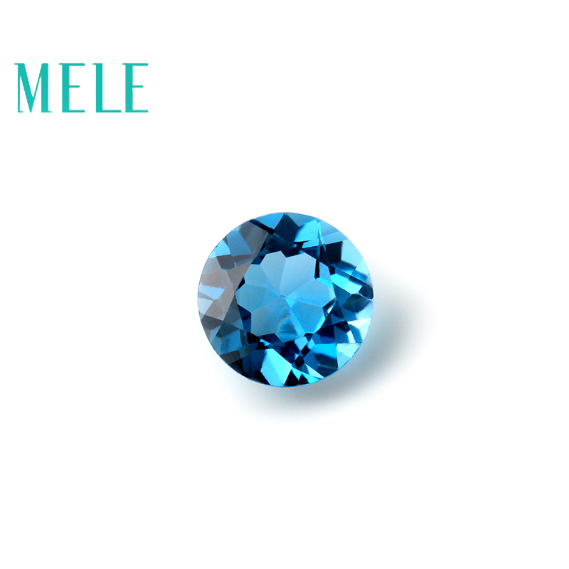 MELE Natural Blue topaz for jewelry making,Bright 6mm round cut loose gemstone,Jewelry with stone
