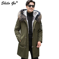 6XL Mens Winter Wine Army Green Parkas Coats Thick Parkas Plus Size Zipper Real Fur Collar Hooded Rabbit Lining Outwear Fur Coat