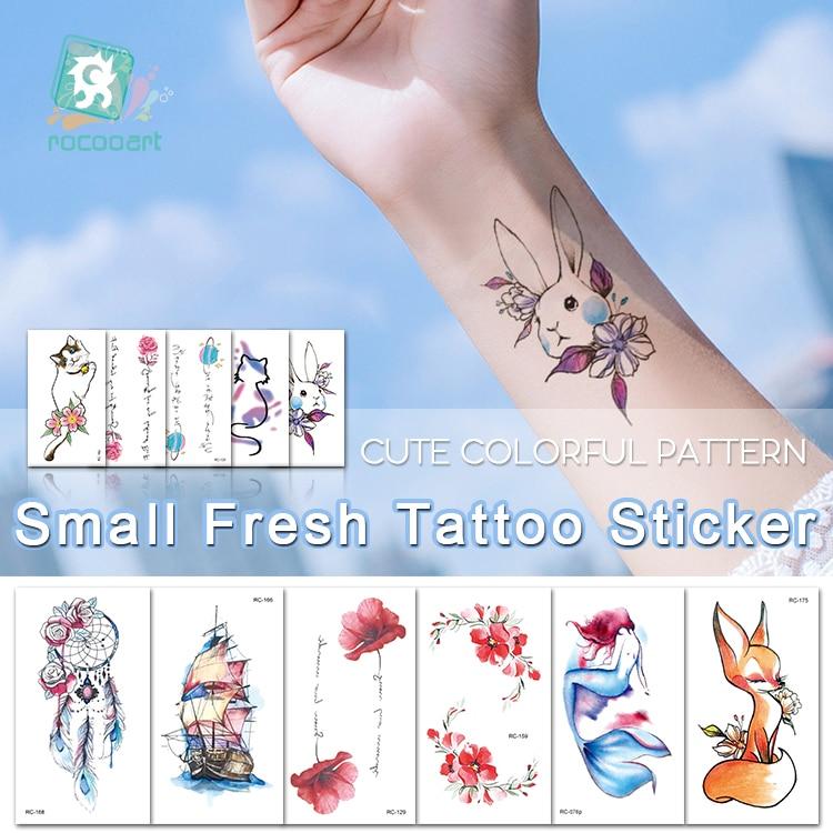 Rocooart Small Fresh Tattoo Stickers Fox Mermaid Fake Tattoo Flower Body Art Tatuaje Cute Cat Tatouage Temporaire For Women Taty