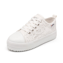 Muffin shoes women casual lace canvas breathable mesh thick bottom increased white 10
